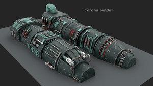 3d model turbine engine pack
