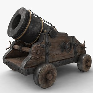 3d model old cannon mortar