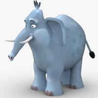 low-poly cartoon elephant 3d max