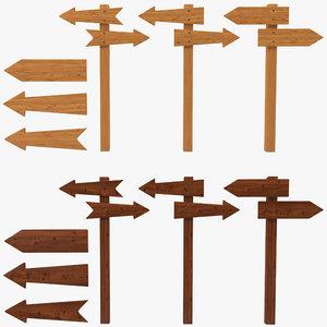 3d wooden road pointer set model