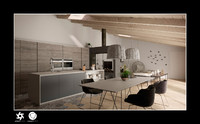 3d kitchen living room interior