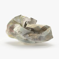 3d 10 pound note crumpled model