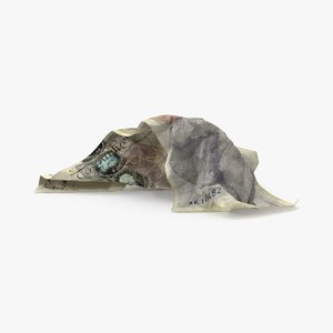 3d 20 pound note crumpled