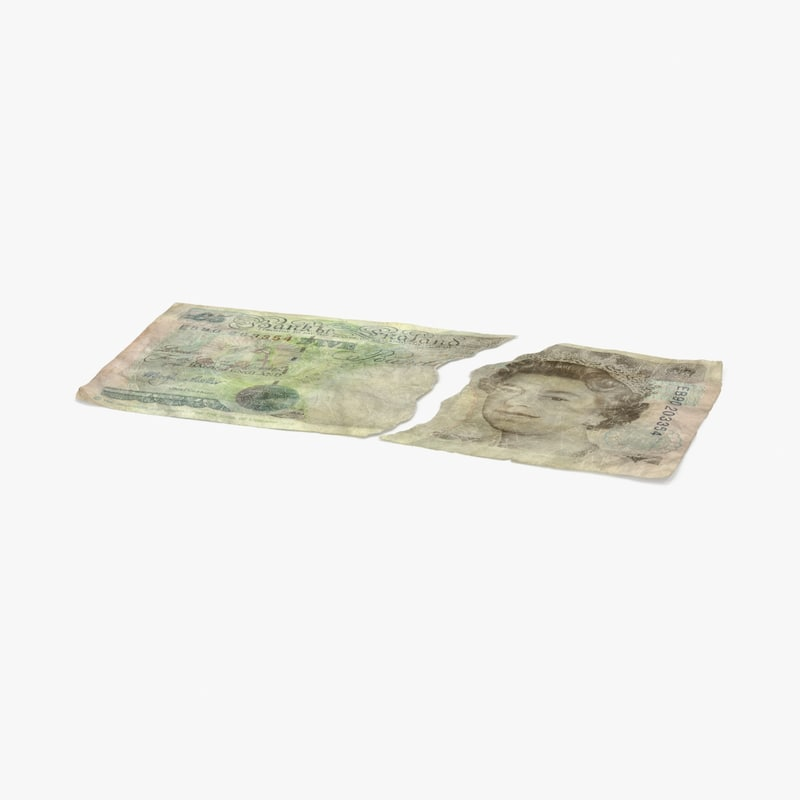 5 pound note torn 3d model