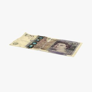 20 pound note torn 3d model