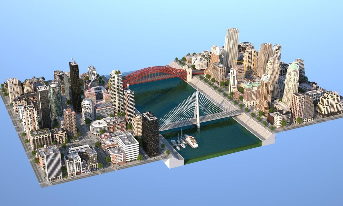 3d model river city buildings