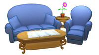 3d cartoon sofa model
