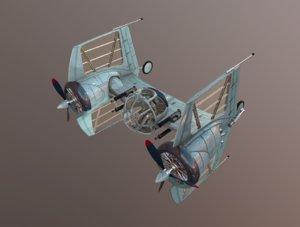3d model diesel tie fighter