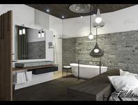 3d model bathroom bedroom scene