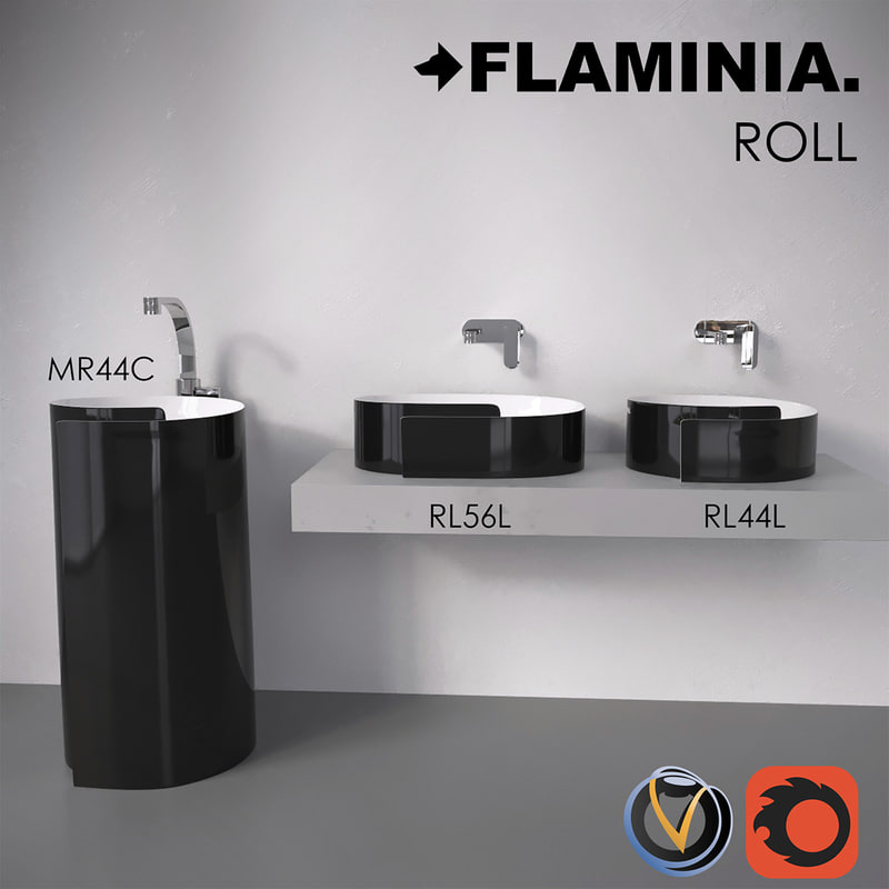flaminia roll bathroom sink 3d max