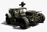 3d light army buggy model
