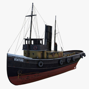 3d old tugboat boat