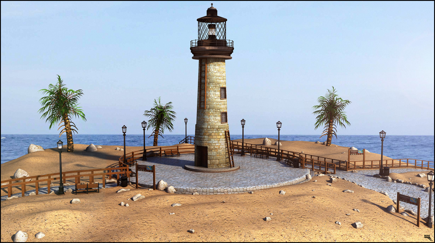 3d lighthouse building model