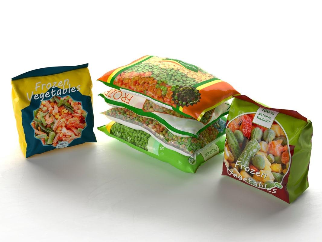 packed frozen food 3d model