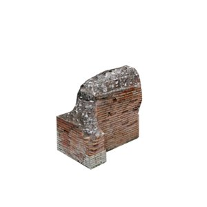 ruined wall 04 3d model