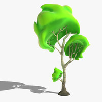 3d model cartoon aspen birch tree
