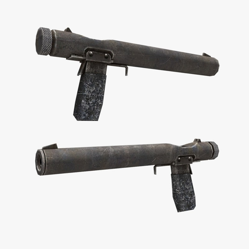 3d model muffled pistol gun