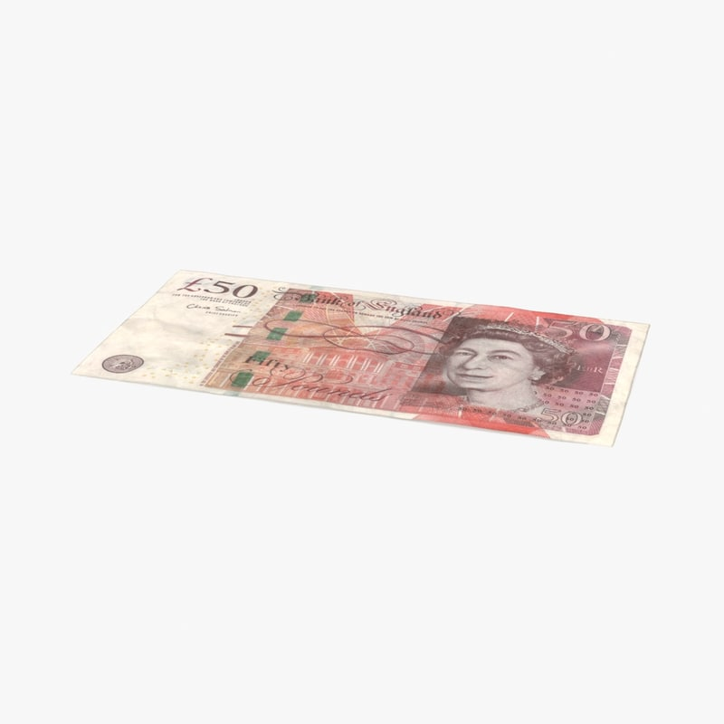 3d model 50 pound note distressed