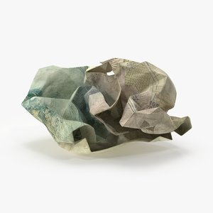 3d model 5 pound note crumpled