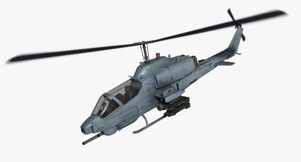 3d model ah1w cobra attack helicopter