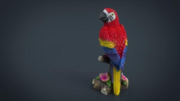 3d obj red parrot