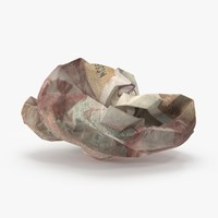 3d 50 pound note crumpled model