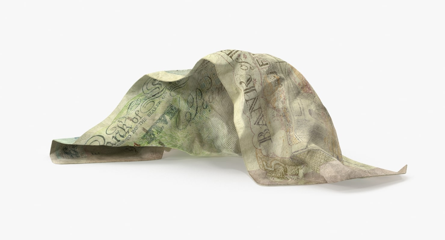 5 pound note loose 3d model
