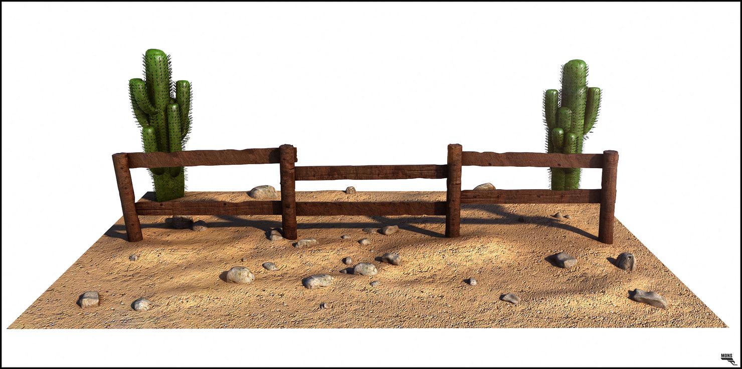 3d wood fence cartoon