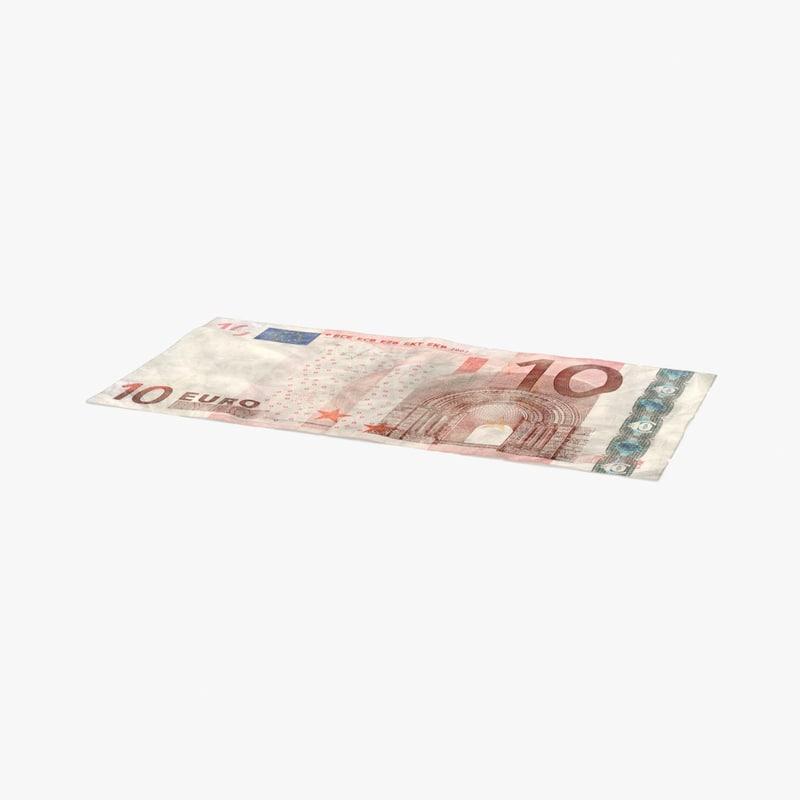 3d model 10 euro bill distressed