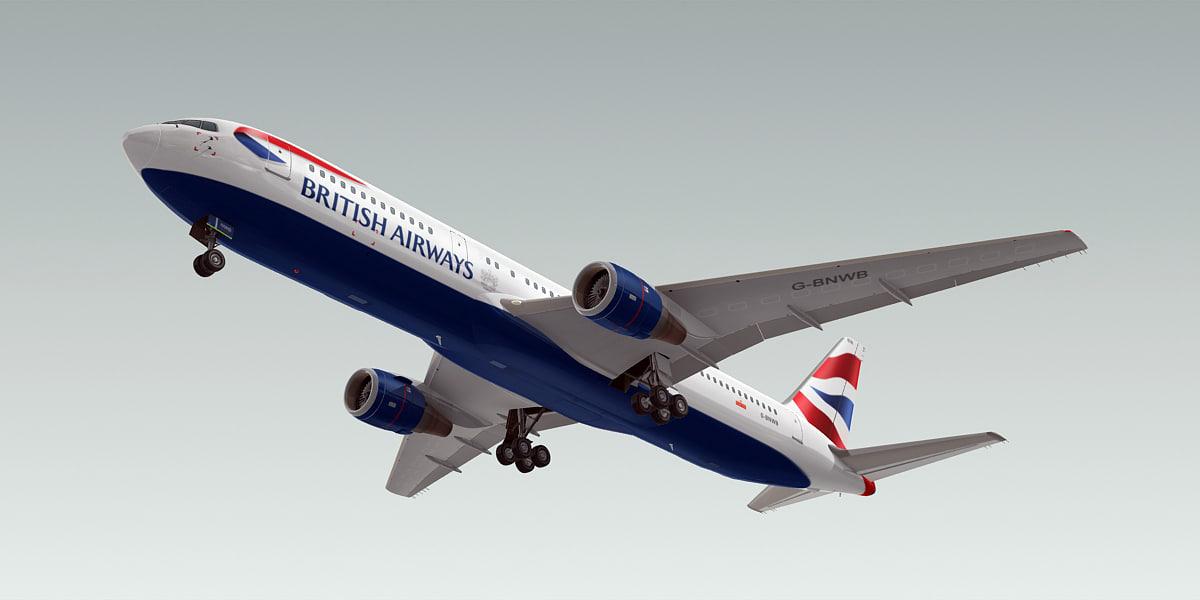 boeing 767-300 plane british airways 3ds