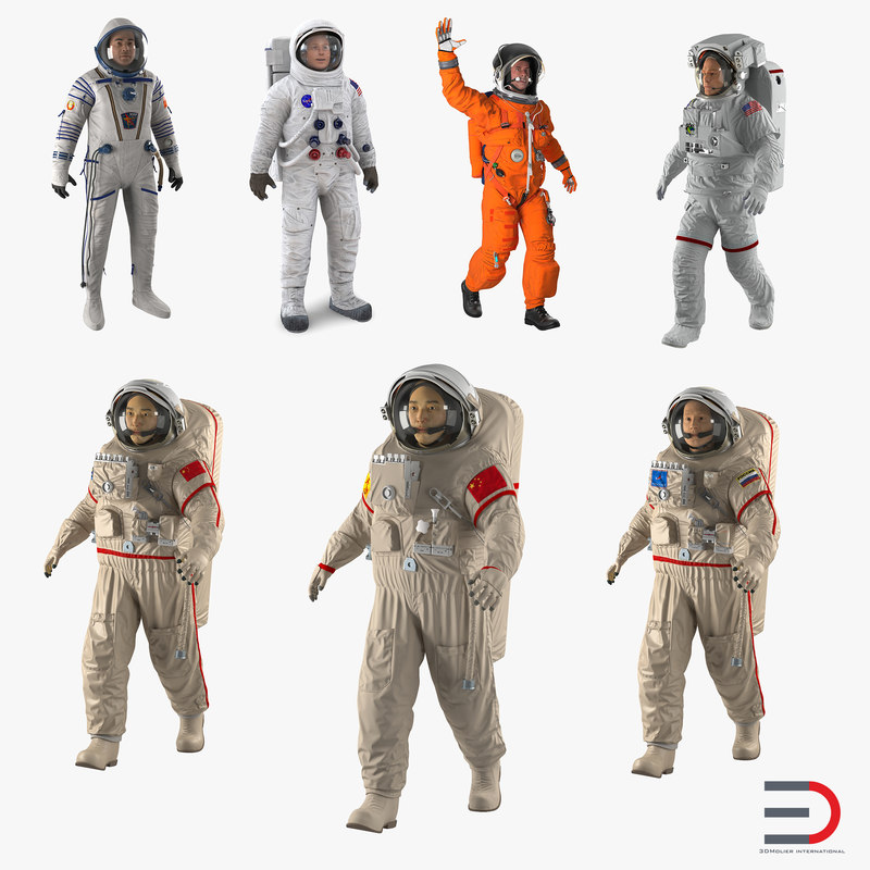 rigged astronauts 3 spacesuit 3d max