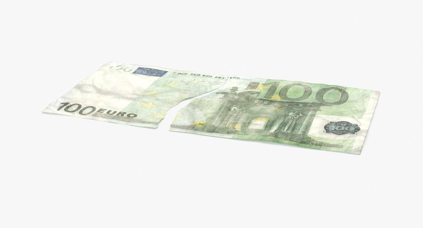 3d 100 euro bill torn model