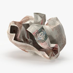 3d 10 euro bill crumpled model