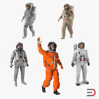 Rigged Astronauts 3D Models Collection 4