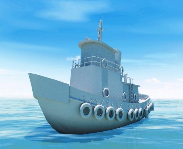 3d tug boat