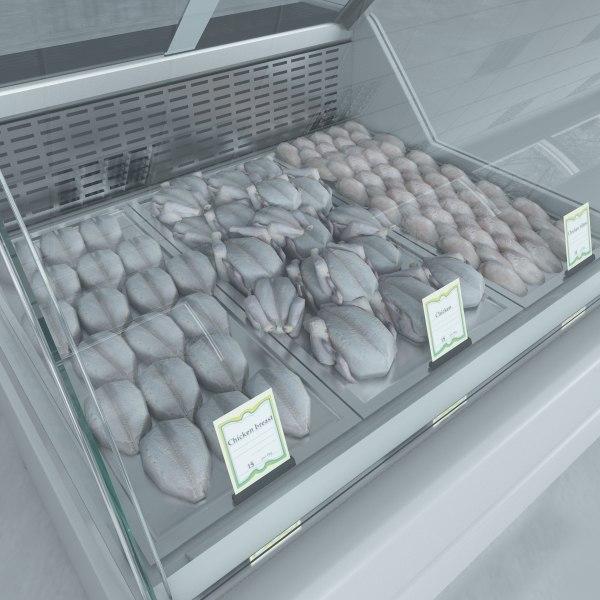 custom refrigerated showcase chiken 3d max