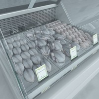 3d custom refrigerated showcase chiken model