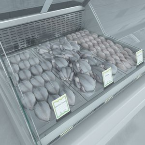 custom refrigerated showcase chiken 3d max