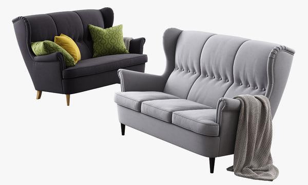 3d max ikea strandmon three-seat sofa