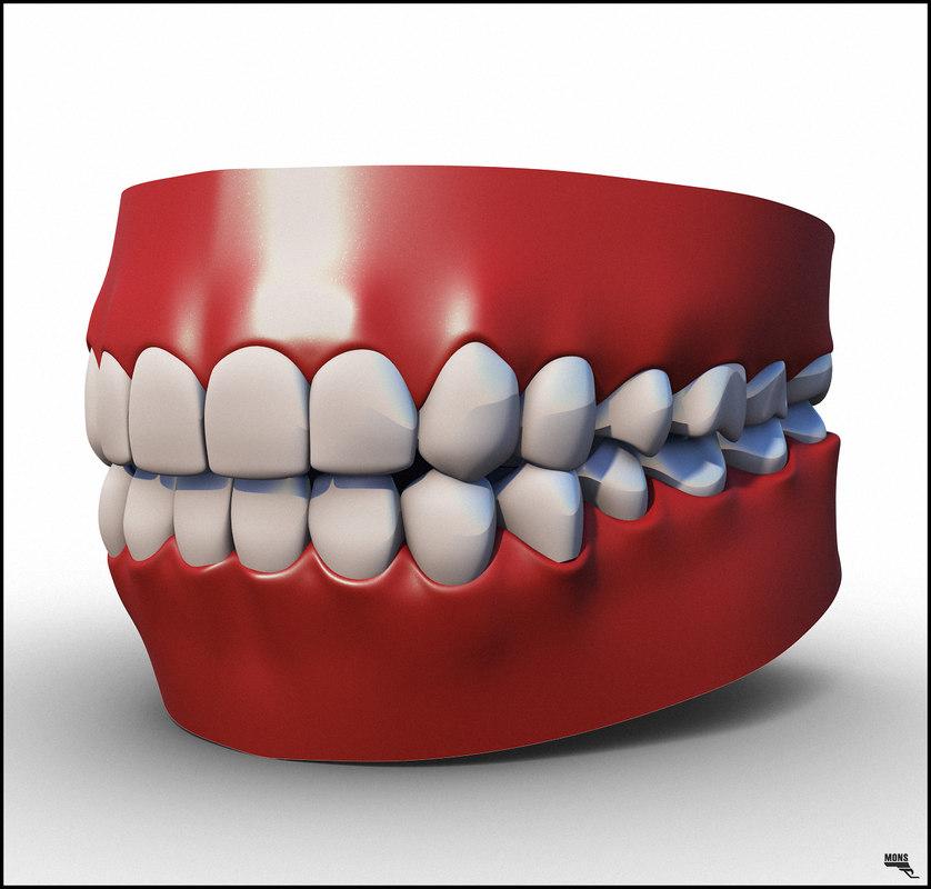 cartoon teeth 3d model