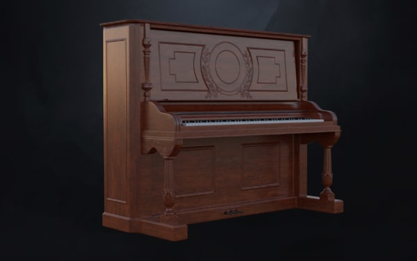 carved gabler victorian upright piano 3d 3ds