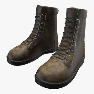 3d model boots brown