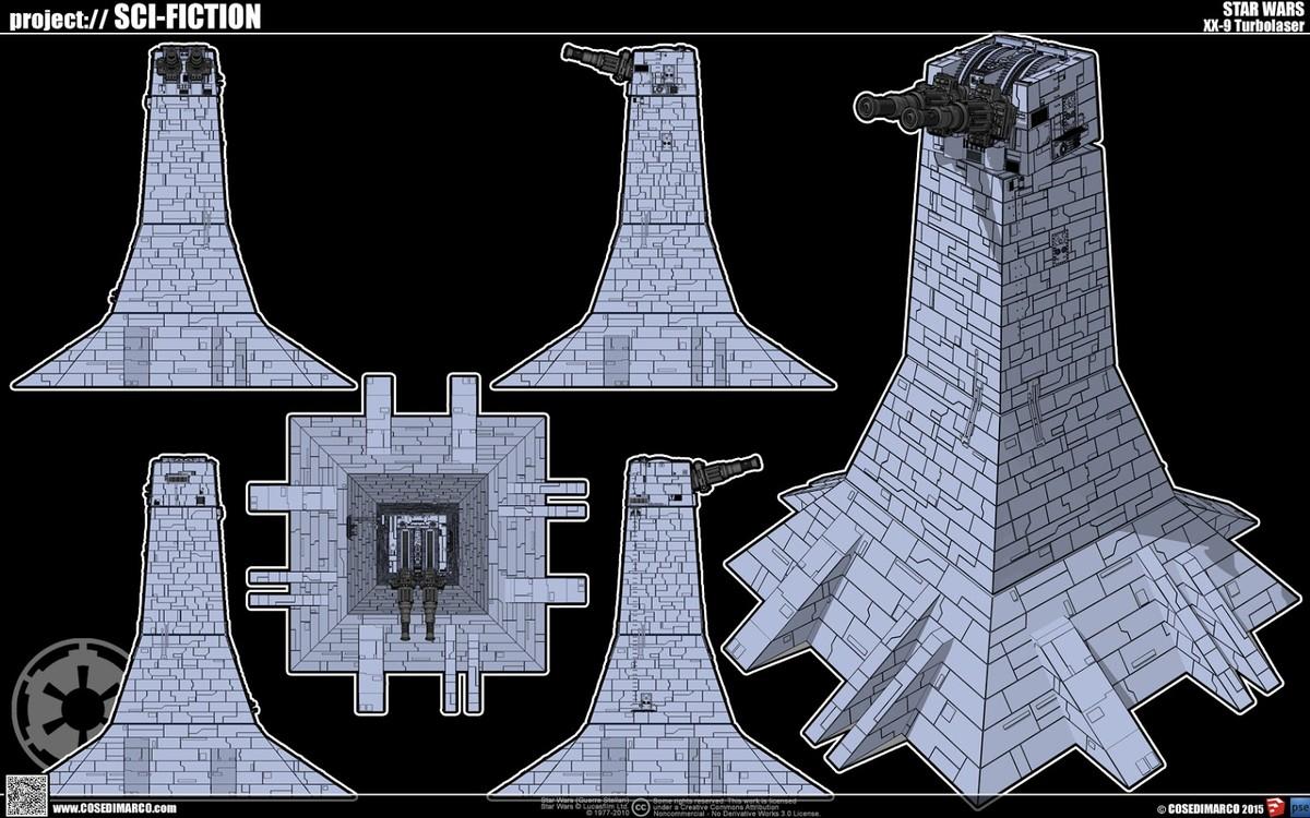 complete xx-9 turbolaser turret obj