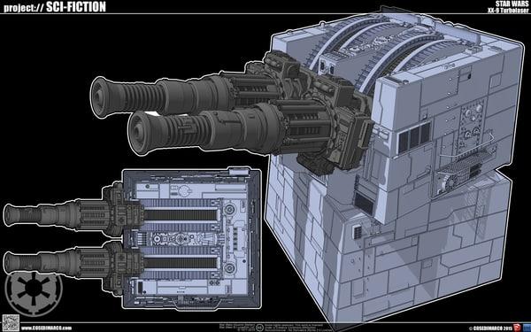 xx-9 turbolaser turret 3d obj