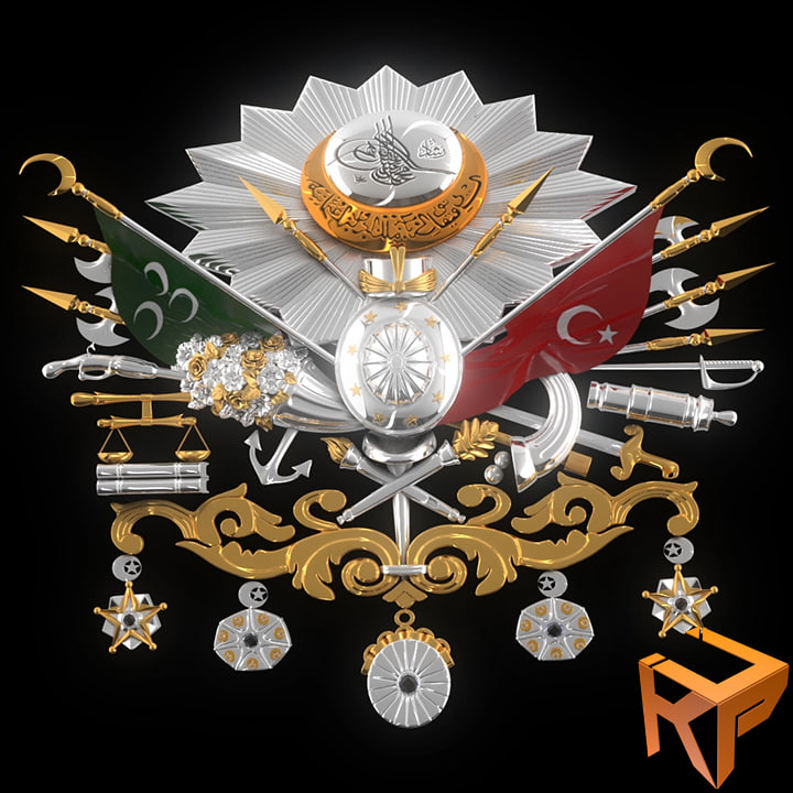 3d model ottoman empire emblem