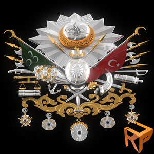 3d model ottoman empire emblem