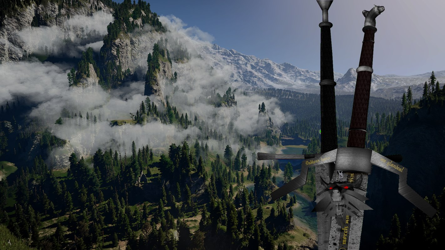 witcher swords 3d c4d