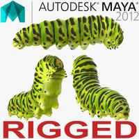 caterpillar rigged 3d model