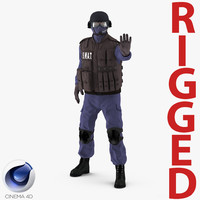 swat policeman 2 rigged 3d c4d