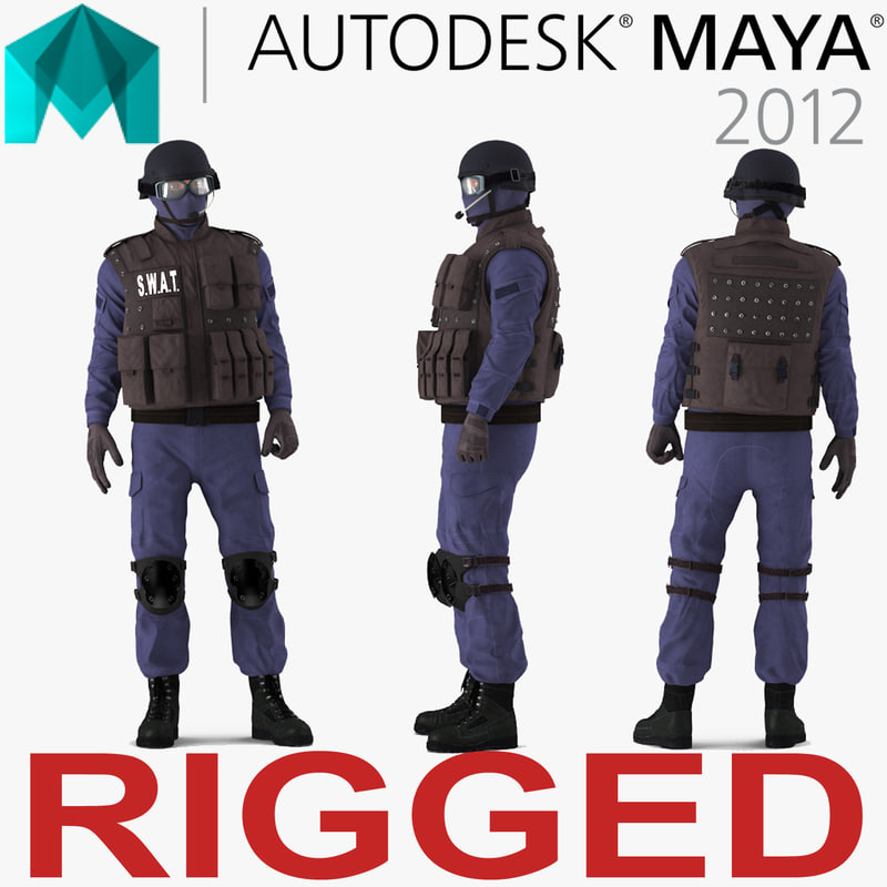 3d swat policeman 2 rigged